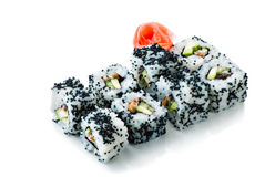 California sushi rolls on white isolated Stock Photo