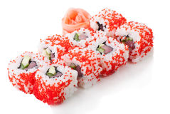 California sushi rolls on white isolated Stock Images