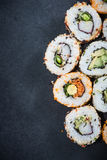 California sushi style rolls, with raw vegetables Royalty Free Stock Photos