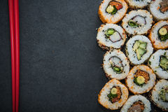 California sushi style rolls, with raw vegetables Royalty Free Stock Images