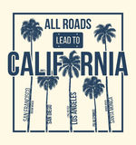 California t-shirt graphic design with palms. T-shirt print, typography, label, badge, emblem. Stock Image