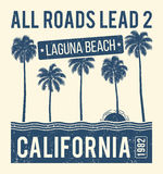 California t-shirt graphic design with palms. T-shirt print, typography, label, badge, emblem. Royalty Free Stock Photography