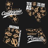 California, Texas, Arizona and Florida typography graphics set for t-shirt, clothes. Print for apparel with palm trees, cactus. California, Texas, Arizona and vector illustration