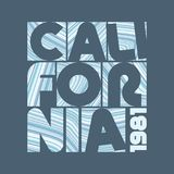 `California` textured by blue stripes. Label for t-shirt. `California` lettering textured by blue stripes. Label for t-shirt. Typography vector design. CMYK vector illustration