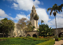 California Tower from Alcazar Gardens Stock Photo