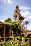 California Tower and flowers, Balboa Park Royalty Free Stock Photography