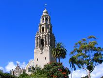 California Tower, Museum of Man, Balboa Park, San Diego. California Tower at the Museum of Man, Balboa Park, San Diego, view from Alcazar Garden royalty free stock image