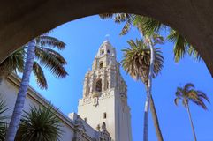 California Tower overlooking Balboa Park in San Diego. San Diego, California, USA - February 5, 2018 - California Tower overlooking Balboa Park in San Diego stock photo