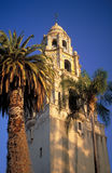 California Tower with Palm Tree Royalty Free Stock Photography