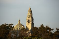 California Tower, San Diego Museum of Man. In sunset, Spanish landmark in San Diego stock images