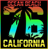 California typography, t-shirt graphics, vectors Stock Photo