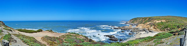 Big Sur, beach, Pacific Ocean, nature, green, landscape, wild, California, United States of America, Usa, fog, mist. Panoramic view in Big Sur on 8 June 2010 stock images
