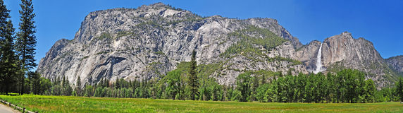 California, United States of America, Usa, Yosemite Park, nature reserve, green, landscape, mountain, waterfall, fall. Panoramic view of Yosemite Park on June 16 stock image