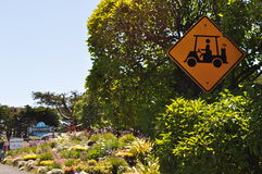 California, United States of America, Usa. A sign indicating the presence of the caddy on the golf course in Bodega Bay on June 13, 2010. Bodega Bay is famous Royalty Free Stock Image