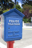 California-United States, July 13, 2014: Unique Compartment for. The Police Telephone in Blue Case Outdoors on July 12, 2014 in California, United States Of Royalty Free Stock Photo