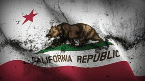 California US State grunge dirty flag waving on wind. United States of America California background fullscreen grease flag blowing on wind. Realistic filth Royalty Free Stock Photo