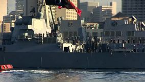 CALIFORNIA USA, JANUARY 2016, Close Up USS William P. Lawrence Destroyer Drive In Harbour stock footage