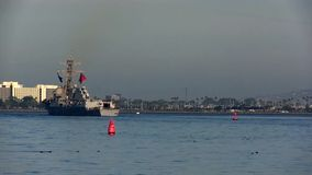 CALIFORNIA USA, JANUARY 2016, Long Shot USS William P. Lawrence Destroyer Drive In Harbour stock video