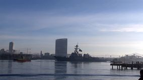 CALIFORNIA USA, JANUARY 2016, USS William P. Lawrence Destroyer Drive In Harbour stock footage