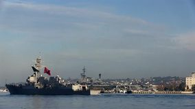 CALIFORNIA USA, JANUARY 2016, USS William P. Lawrence Destroyer Drive In Harbour stock video footage