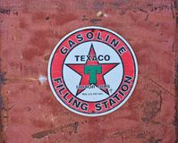 Texaco Sign an American oil. Royalty Free Stock Photography