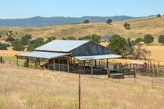 Panoramic view of a ranch in California. CALIFORNIA, USA - JUNE 10, 2006. Panoramic view of a shed within a typical ranch of the so-called Golden State royalty free stock photography