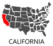 California on USA map Royalty Free Stock Photos