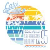 California Venice beach typography, t-shirt Printing design, Summer vector Badge Applique Label Stock Photos