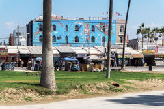 California Venice street with art decorated buildings Stock Photo