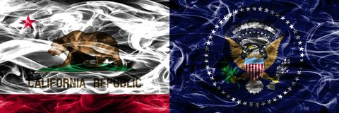 California vs President of the United States colorful concept sm. Oke flags placed side by side stock images