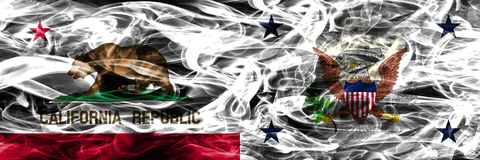 California vs Vice President of the United States colorful concept smoke flags placed side by side stock image