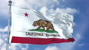 California Waving Flag. California U.S. state flag waving against clear blue sky, close up, isolated with clipping path mask luma channel, perfect for film, news royalty free stock photo
