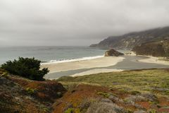 California on the way to Carmel, panoramic view stock images