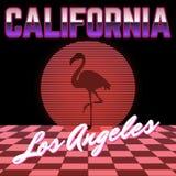 california Wektorowy plakat z sylwetką flaming i okrąg robić w vaporwave projektujemy ilustracji
