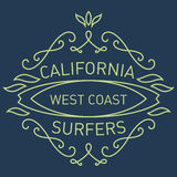 California west coast surfers. Monograms style. Vector artwork f Stock Photo
