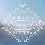 California west coast surfers. Monograms style. Vector artwork w Royalty Free Stock Image