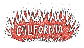 California Wildfire Camp burns out concept. Flame Fire with text hand lettering. Vector illustration royalty free stock images