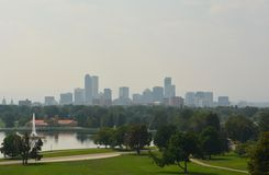 Wildfire Smoke Haze Over Denver Stock Photo
