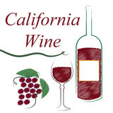 California Wine Means The United States And Booze. Winery Wine Indicating The United States And Alcoholic Drink Royalty Free Stock Image