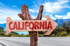 California wooden sign with road background Royalty Free Stock Photo