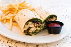 California wrap with french fries,ketchup Royalty Free Stock Photos