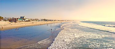 Californian beach. Tropical sunset at the beach (San Diego royalty free stock image
