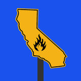 Californian fire warning sign. Fire symbol on California map sign illustration Royalty Free Stock Photography
