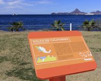 A Californian Gulf Sign at Delphinario Near San Carlos, Guaymas,. SAN CARLOS, MEXICO, MARCH 13. Delphinario Sonora on March 13, 2018, in San Carlos, Mexico. A stock photo
