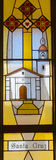 Californian mission stained glass window Royalty Free Stock Image