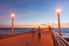 Californian nights, at the pier at sunset. Royalty Free Stock Photography