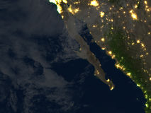 Californian peninsula at night on planet Earth Royalty Free Stock Image