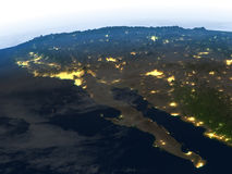 Californian peninsula at night on planet Earth Royalty Free Stock Photo