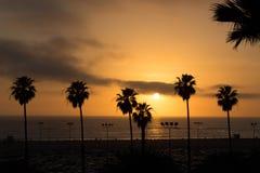 Californian sunset. Sunset at the Santa Monica Beach, California Royalty Free Stock Photo