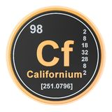 Californium Cf chemical element. 3D rendering. Isolated on white background royalty free illustration